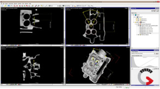 Image shows a part that has been 3D CT scanned and analyzed using computed tomography software